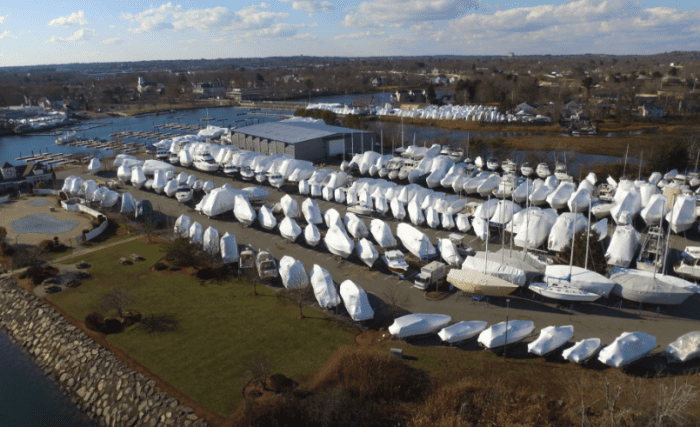 Aerial View of Winterized Boats in Danvers, MA